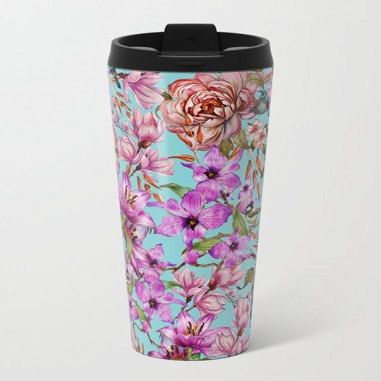 Watercolor Floral Pattern II Metal Travel Mug