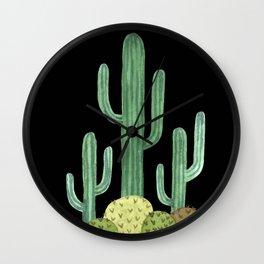 Desert Cacti on Black Wall Clock