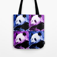 pandas Tote Bags featuring Pandas by SwanniePhotoArt