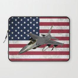 F16 Fighter Jet American Flag Laptop Sleeve