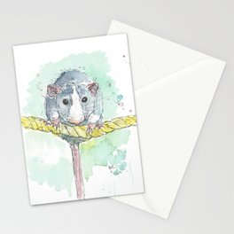 Rat on a rope. Stationery Cards