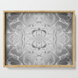 elegant silver Digital pattern with circles and fractals artfully colored design for house Serving Tray