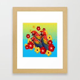 YELLOW-BLUE  FLORAL MACAWS & RED YELLOW HIBISCUS Framed Art Print