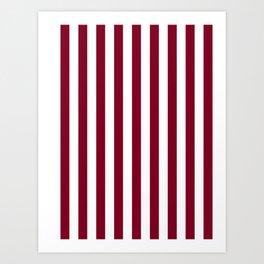 Narrow Vertical Stripes - White and Burgundy Red Art Print
