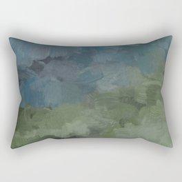 Gray Blue Navy Indigo Sage Leafy Green Sky Forest Abstract Painting, Modern Wall Art, Portrait Rectangular Pillow