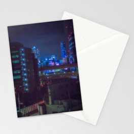 View from Tokyo roof/ blue and purple lights at night / Cyberpunk/Blade runner vibes. Stationery Cards