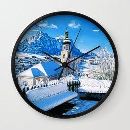 Kastelruth Dolomites, South Tyrol, Italian Winter Landscape Wall Clock