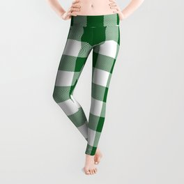 Hunter Green Checker Gingham Plaid Leggings