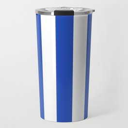 Cerulean blue - solid color - white vertical lines pattern Travel Mug
