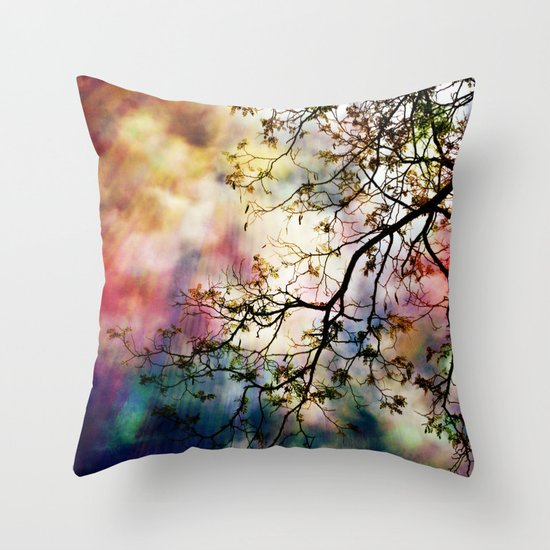 the Tree of Many Colors Throw Pillow