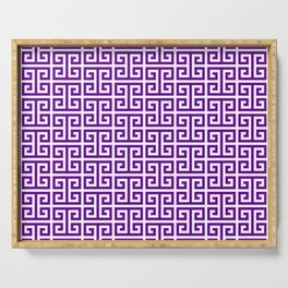 Purple and White Greek Key Pattern Serving Tray