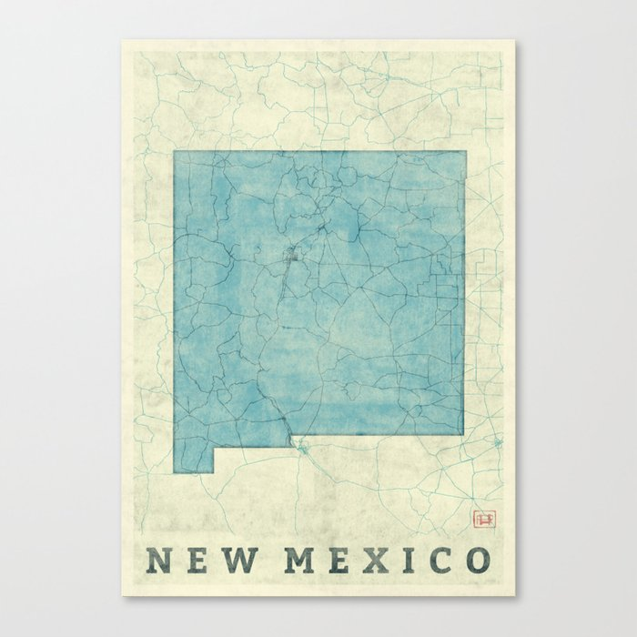 New Mexico State Map Blue Vintage Canvas Print
