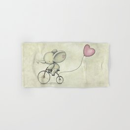 Cute Elephant riding his bike Hand & Bath Towel