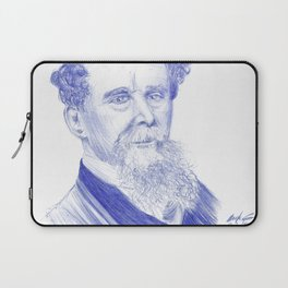 Charles Dickens Portrait In Blue Bic Ink Laptop Sleeve