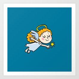 angel girl show a star Art Print