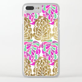 Chic Girly Gold Pink Purple Teal Painted Tear Drop Clear iPhone Case