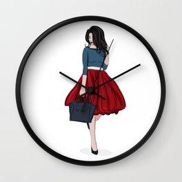 Romantic look, girl in red skirt Wall Clock