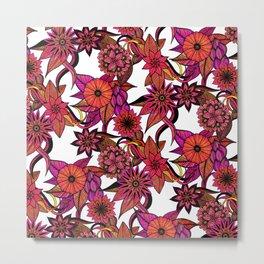 Hipster Pink Orange Floral Illustration Pattern Metal Print