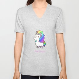 Super Cute Rainbow Unicorn Kawaii Unisex V-Neck