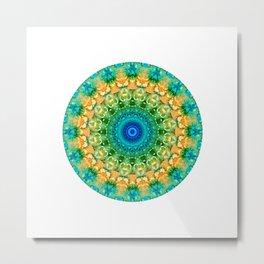 Summer Batik Mandala Metal Print
