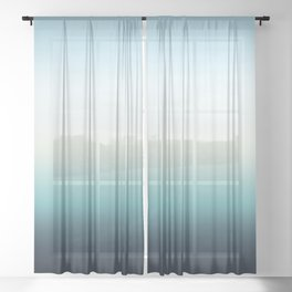 ocean sky color gradient  - blue , white , black Sheer Curtain