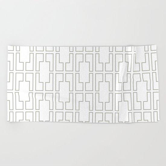 Simply Mid-Century Retro Gray on White Beach Towel