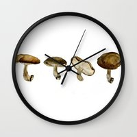 mushrooms Wall Clocks featuring Mushrooms by Marilyn Foehrenbach