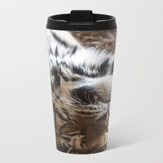 Tiger Portrait Metal Travel Mug