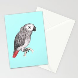 Cute African grey parrot Stationery Cards