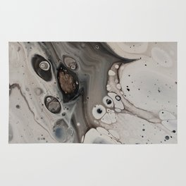 Black and White Abstract Painting - Fluid Pour - Silver Metallic Rug