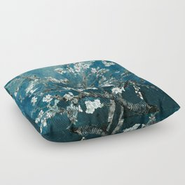 Van Gogh Almond Blossoms : Dark Teal Floor Pillow