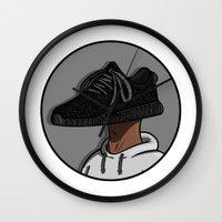 sneaker Wall Clocks featuring Sneaker Head - 350 Boost by KODYMASON