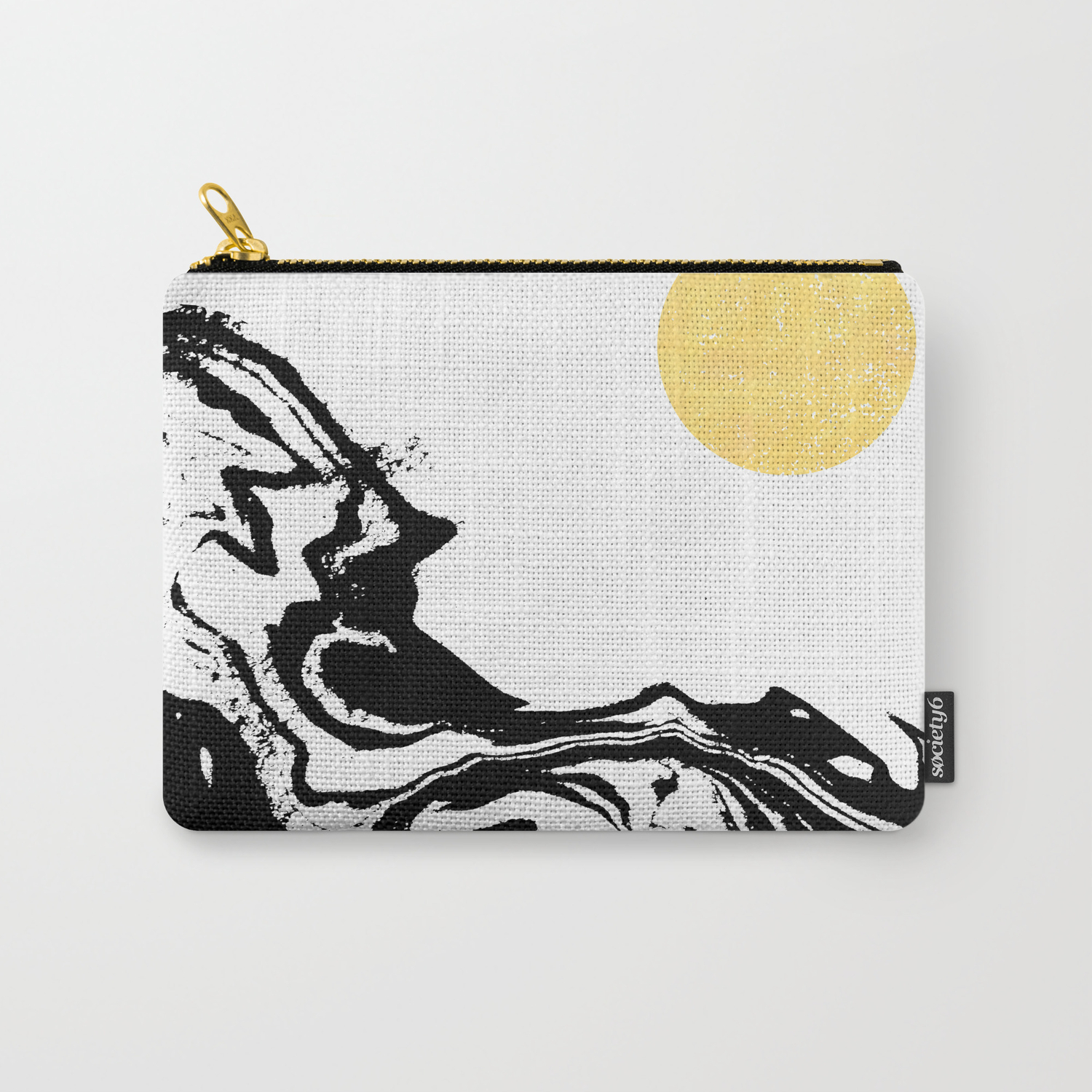 Seffi - abstract ink sun ocean sea water wave minimalist black and white  with gold Carry-All Pouch