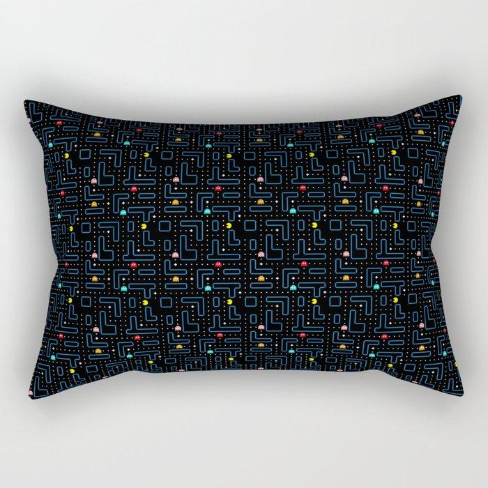 Pac-Man Retro Arcade Video Game Pattern Design Rectangular Pillow