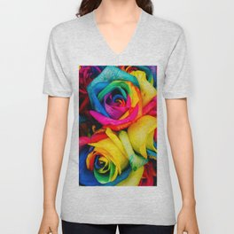 Rainbow Roses Unisex V-Neck