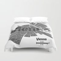 vienna Duvet Covers featuring Vienna Map by Shirt Urbanization