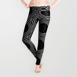 Abstract Blk White Dots Leggings