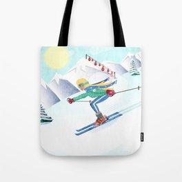 Skiing Girl Tote Bag