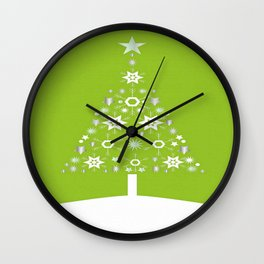 Christmas Tree Made Of Snowflakes On Lime Background  Wall Clock