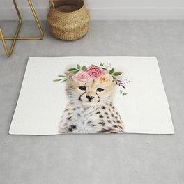 Baby Cheetah with Flower Crown Rug