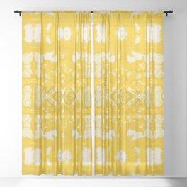 Yellow Oxford Shibori Sheer Curtain