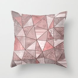 Soft Pink Coral Glamour Gemstone Triangles Throw Pillow