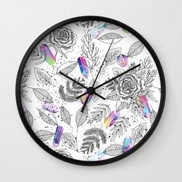 Roses and Crystals Wall Clock