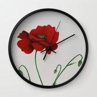 poppy Wall Clocks featuring Poppy by Diane Nicholson