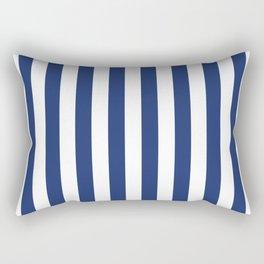 Vertical Navy Stripes Pattern Rectangular Pillow