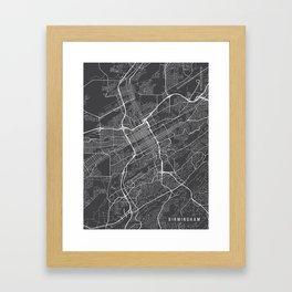 Birmingham Map, Alabama USA - Charcoal Portrait Framed Art Print