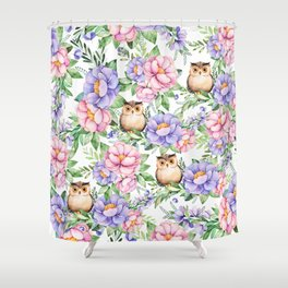 Watercolor hand painted pink lavender brown floral cute owl pattern Shower Curtain