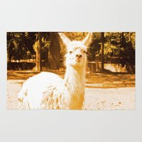 alpaca Area & Throw Rugs featuring Alpaca yellowish. by Alejandra Triana Muñoz (Alejandra Sweet