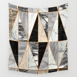Marble Triangles - Black and White Wall Tapestry