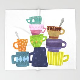Coffee And Tea Cups And Mugs Stacked High Throw Blanket